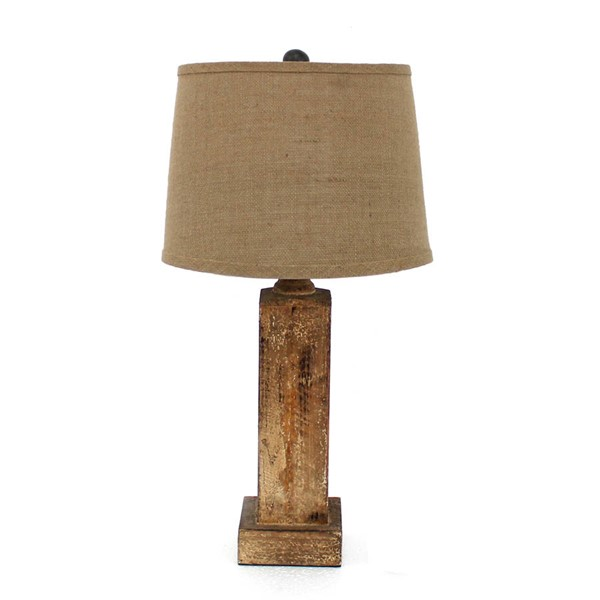 HomeRoots Brown Wood Round Linen Shade Table Lamp OCN-277070