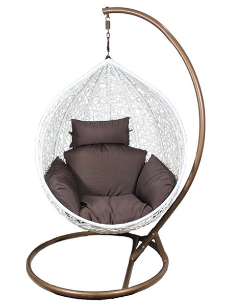 Homeroots White PE Rattan Brown Metal Hanging Chair OCN-282276