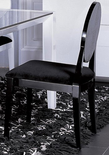 2 HomeRoots Black Fabric Crocodile Dining Chairs OCN-282501