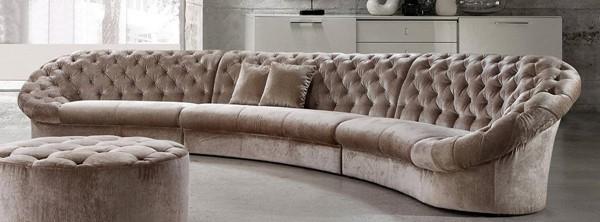 Homeroots Beige Fabric Velour Tufted Sectional OCN-282514