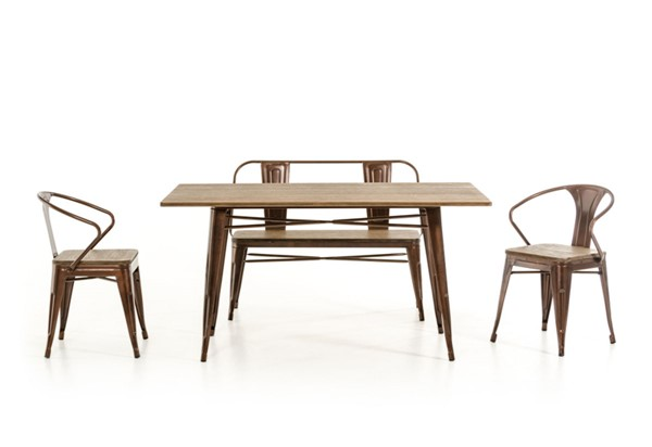 Ocean Tailer Modern Copper Wood Dining Table OCN-282882
