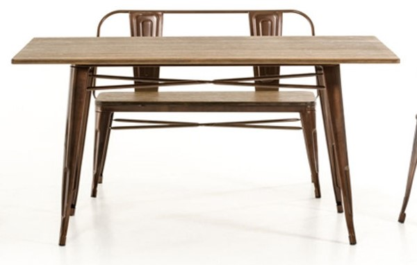 HomeRoots Modern Copper Wood Dining Table OCN-282882