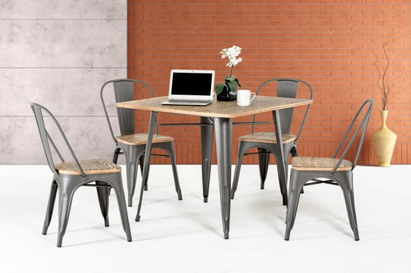 Home Roots Grey Modern Square Dining Table OCN-282886
