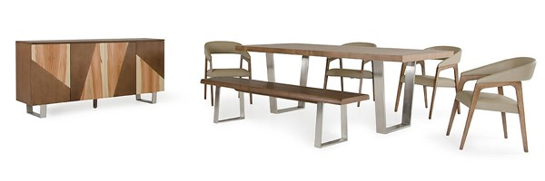 Homeroots Walnut Wood Steel Leather Seat Dining Set OCN-282984