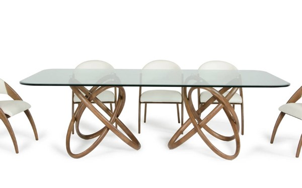 Homeroots Walnut Glass Top Dining Table OCN-283020