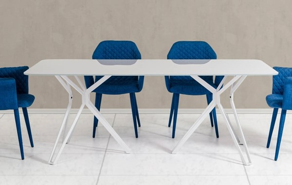 Homeroots White Glass Top Metal Legs Dining Table OCN-283098