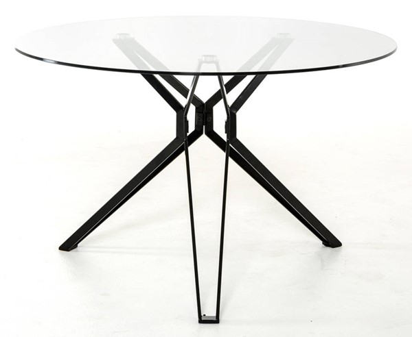 Homeroots Clear Glass Top Black Metal Round Dining Table OCN-283100