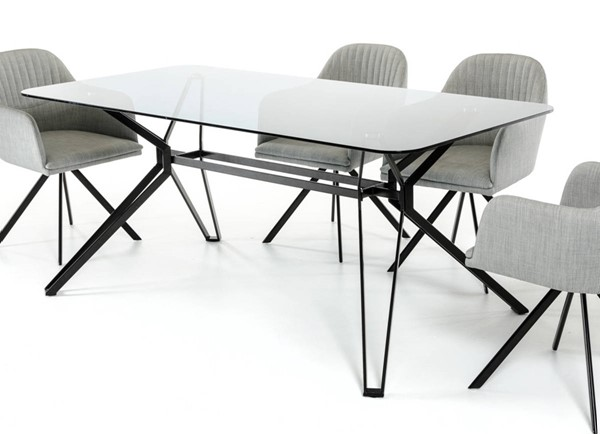 Homeroots Smoked Glass Top Black Metal Legs Dining Table OCN-283102