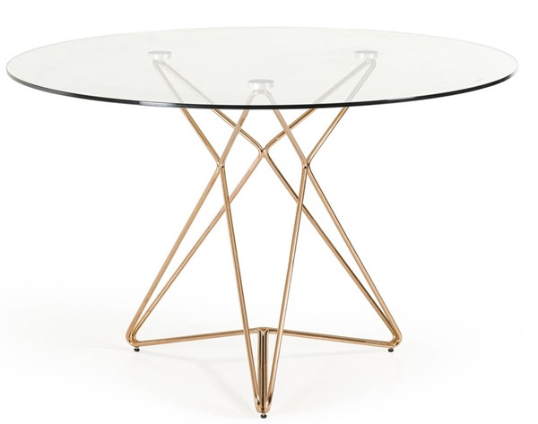Homeroots Clear Glass Top Gold Steel Base Round Dining Table OCN-283104