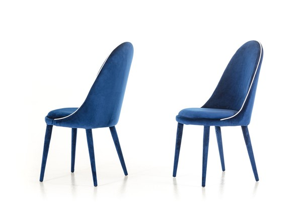 2 HomeRoots White Blue Modern Fabric Dining Chairs OCN-283132