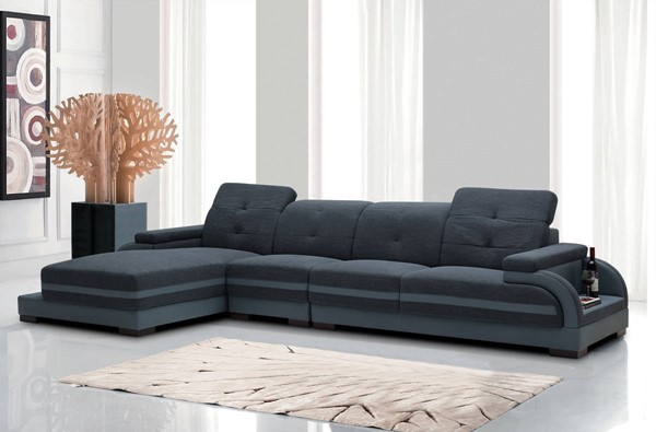Homeroots Grey Fabric Bonded Leather Sectional OCN-283139