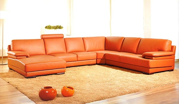 Homeroots Orange Leather Sectional OCN-283147