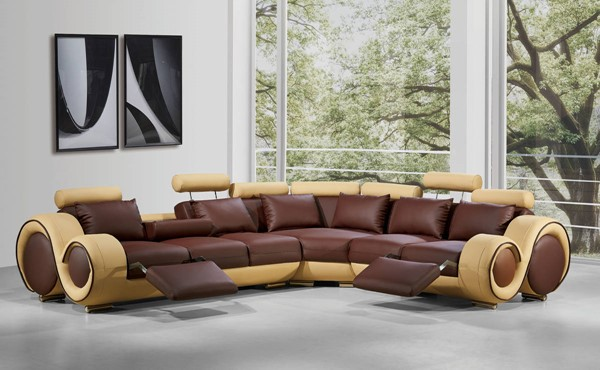 Homeroots Cream Brown Bonded Leather Sectional OCN-283153