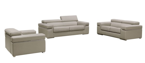 HomeRoots Light Grey Bonded Leather 3pc Living Room Set OCN-283157