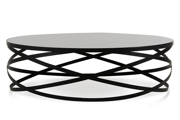 HomeRoots Black Modern Round Coffee Table OCN-283164