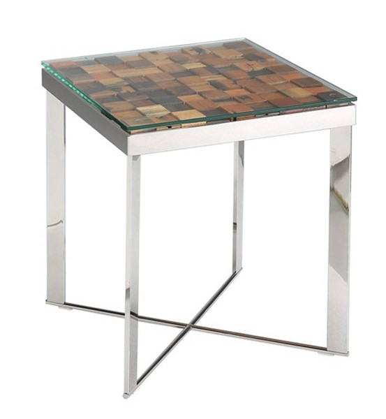 Homeroots Brown Mosaic Wood Glass Top Steel Base End Table OCN-283174