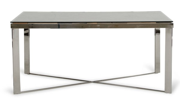 Homeroots Brown Wood Glass Top Base Steel Dining Table OCN-283191