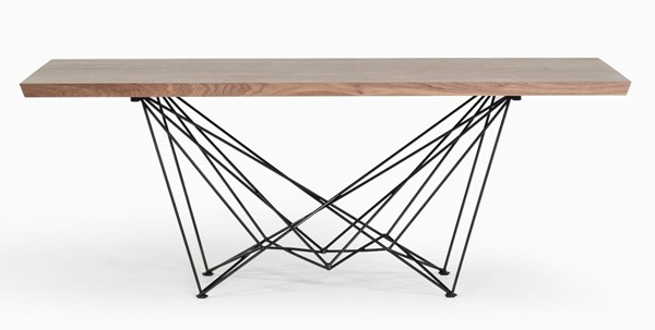 Homeroots Walnut Top Metal Legs Dining Table OCN-283195