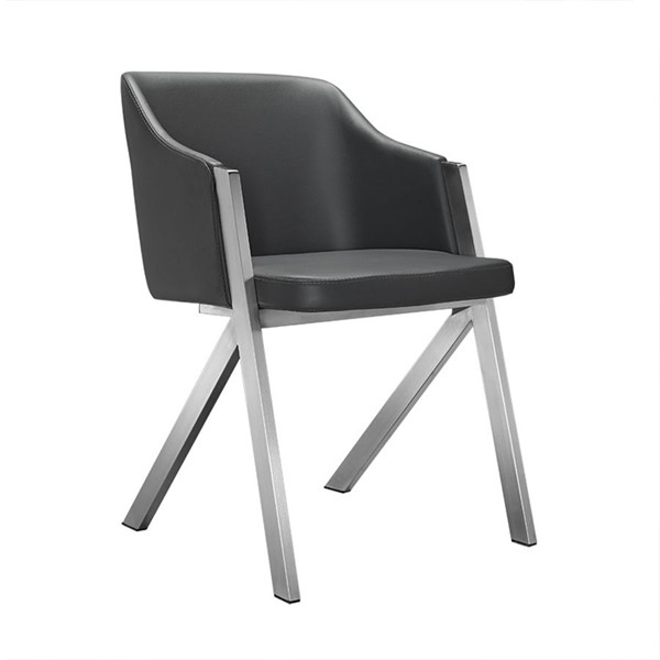 2 HomeRoots Grey Leatherette Dining Chairs OCN-283207