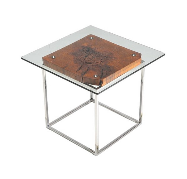 Homeroots Clear Glass Wood Top Steel Base Tree Root End Table OCN-283221