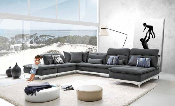 Homeroots Grey Fabric Stainless Steel Sectional OCN-283228