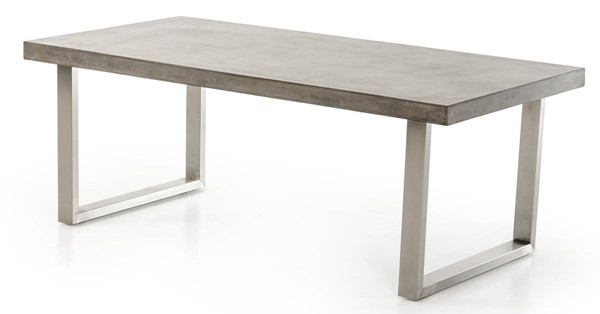 Homeroots Dark Grey Concrete Top Stainless Steel Sled Dining Table OCN-283301