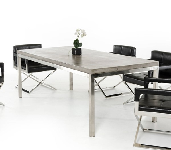 Homeroots Dark Grey Concrete Top Stainless Steel Legs Dining Table OCN-283306