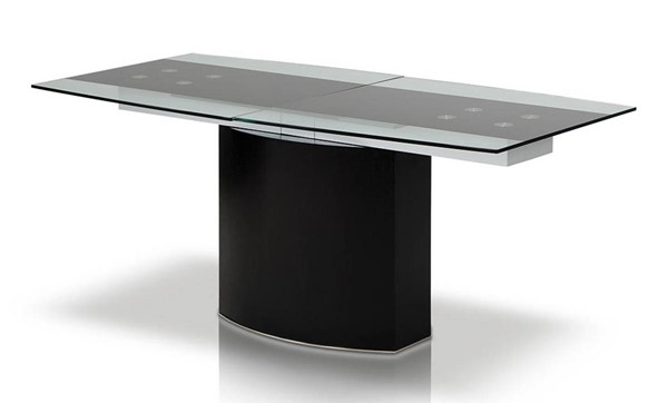 Homeroots Glass Top Black MDF Dining Table OCN-283327