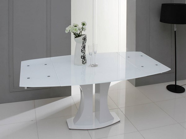 Homeroots White Glass Top Extendable Dining Table OCN-283331