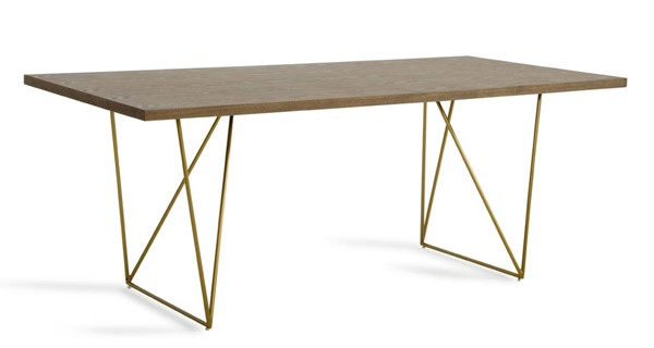 Homeroots Tobacco MDF Top Antique Brass Steel Base Dining Table OCN-283333