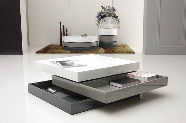 HomeRoots Grey White 3 Tone Square Coffee Table OCN-283340