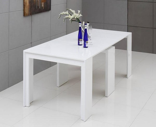 Homeroots White MDF Extendable Dining Table OCN-283342