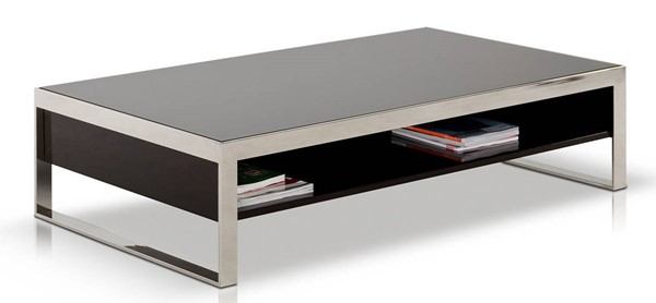 Homeroots Ebony Lacquer Glass Top Coffee Table OCN-283394