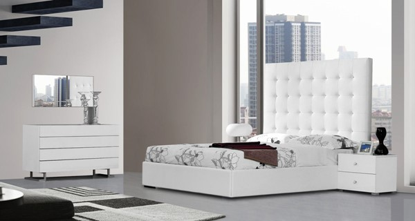 HomeRoots White Leatherette Tall Headboard Bed OCN-283526-BED-VAR