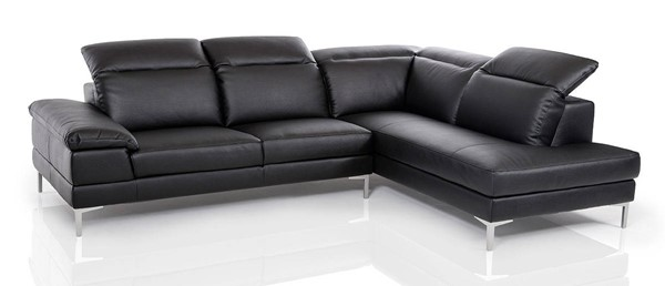 Homeroots Black Eco Leather Sectional OCN-283600