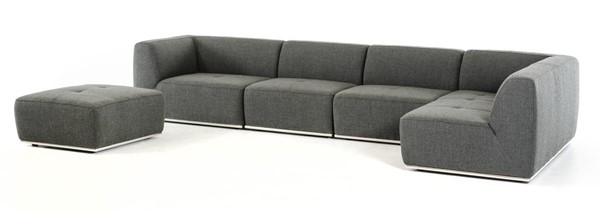 Homeroots Grey Fabric Sectional with Ottoman OCN-283609