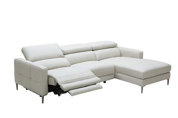 Home Roots Light Grey Leather Electric Recliner Sectional Sofa OCN-283633