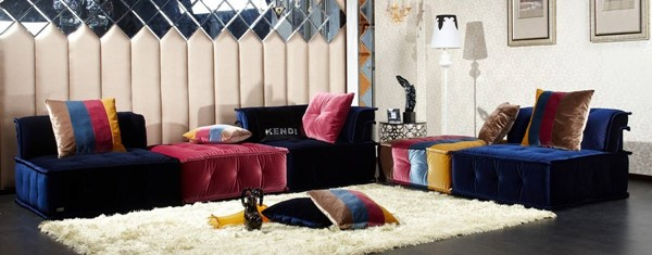 Homeroots Blue Pink Fabric Sectional OCN-283674