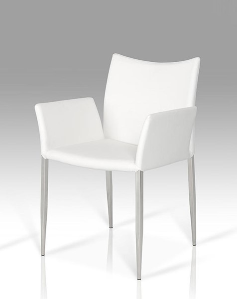 HomeRoots White Faux Leather Modern Dining Chair OCN-283732