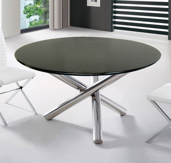 Homeroots Black Glass Top Steel Legs Round Dining Table OCN-283737