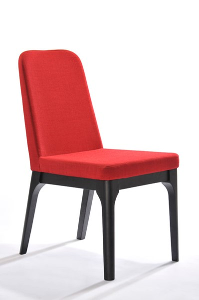 2 HomeRoots Red Modern Fabric Dining Chairs OCN-283802