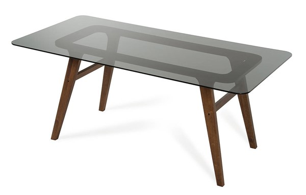 Homeroots Smoked Glass Top Brown Wood Legs Dining Table OCN-283834