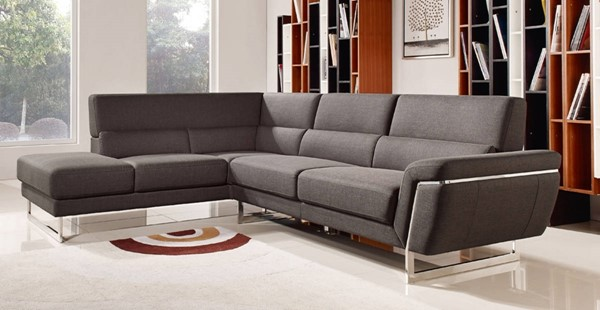Homeroots Brown Fabric Steel Frame Sectional OCN-283867