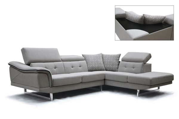 Homeroots Grey Fabric Tufted Sectional OCN-283868