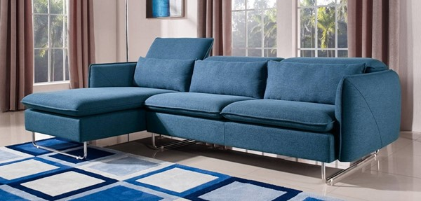 Homeroots Blue Fabric Steel Frame Sectional OCN-283878