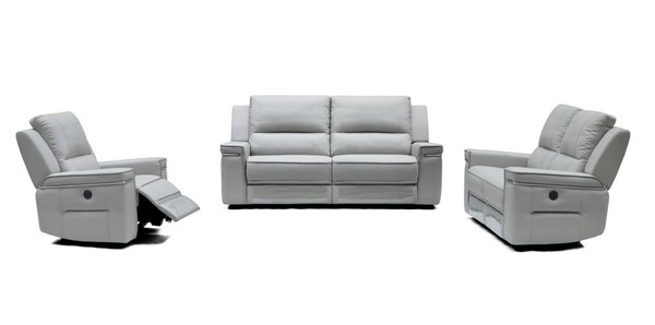 HomeRoots Grey Leatherette 3pc Living Room Set OCN-283884