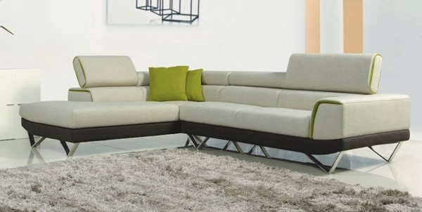 Homeroots Beige Brown Fabric Steel Frame Sectional OCN-283889