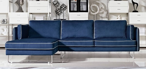 Homeroots Blue Fabric Tufted Sectional OCN-283894