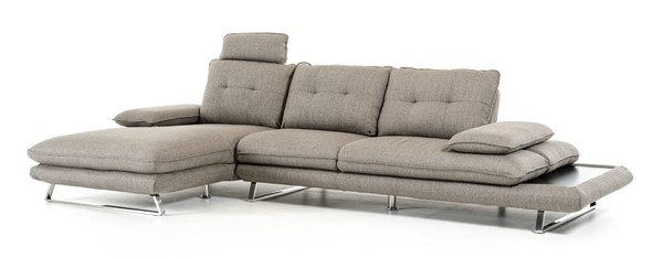 Homeroots Grey Eco Leather Steel Frame Sectional OCN-283900
