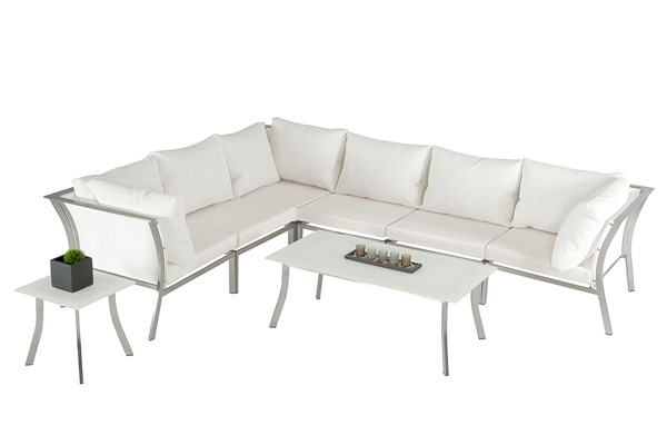 Home Roots White Outdoor Sectional Sofa Set OCN-283914